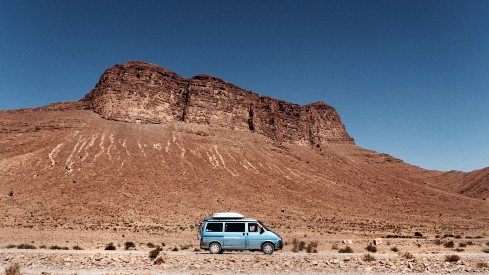 Mel and Armando's van with another impressive backdrop