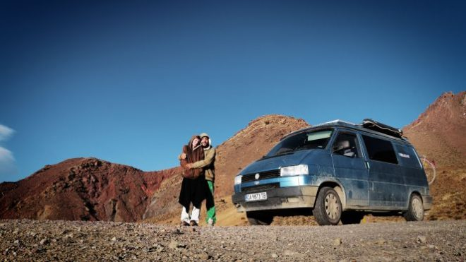 Mel and Armando with their van, Mork